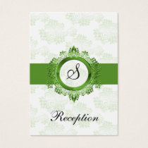 green monogram wedding Reception Cards