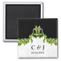 green monogram wedding save the date magnets