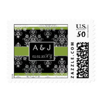 green monogram wedding stamps