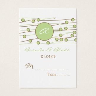 Green Monogram Wedding Table Seating Cards