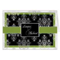 green monogram wedding Thank You Card