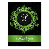 green monogram wedding thank you postcard