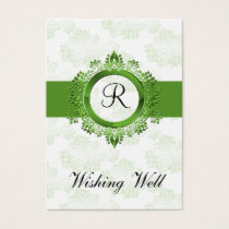 green monogram wishing well cards