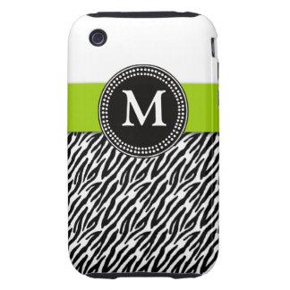 Green Monogram Zebra Pattern iPhone 3 Case-Mate iPhone 3 Tough Cover