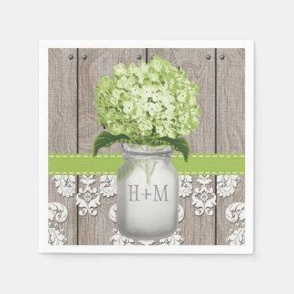 Green Monogrammed Hydrangea Mason Jar Paper Napkin