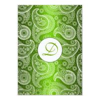 Green Monogrammed Paisley Wedding Invitation