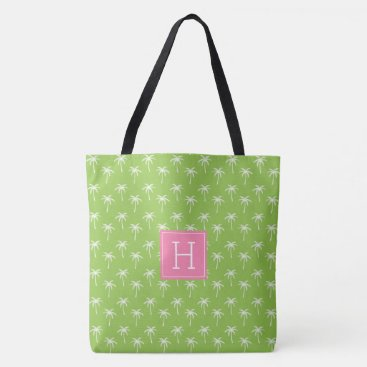 Beach Themed Green Monogrammed Palm Trees Pattern Tote Bag