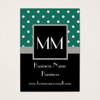 Green monogrammed polka dot business card