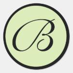 Green Monogrammed Wedding Envelope Seals Stickers
