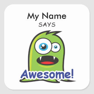 Green Monster - Awesome! Square Sticker