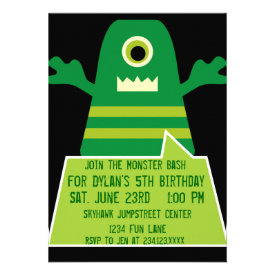 Green Monster Birthday Party Invitations Black