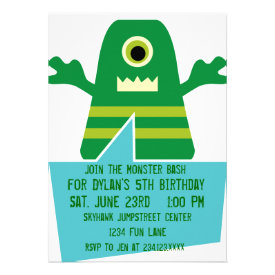 Green Monster Birthday Party Invitations White