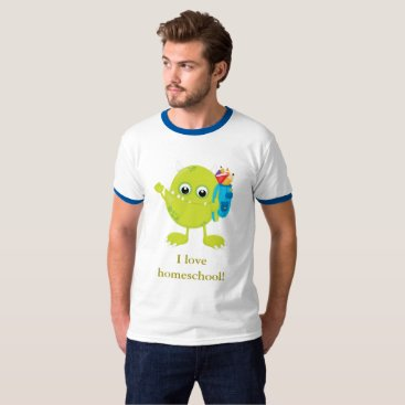 Beach Themed Green Monster Blue and White T-Shirt