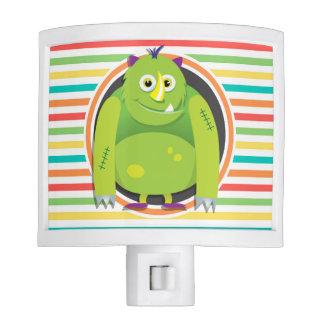 Green Monster Bright Rainbow Stripes Nite Lights