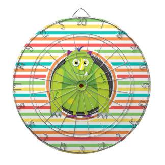 Green Monster; Bright Rainbow Stripes Dart Board