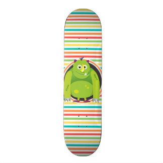 Green Monster; Bright Rainbow Stripes Skateboard