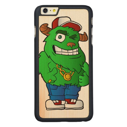 Green monster carved maple iphone plus case zazzle