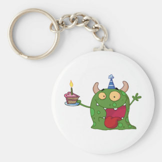 Green Monster Celebrates Birthday With Cake Keychain