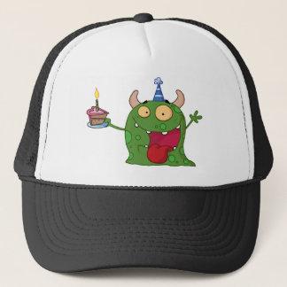 Green Monster Celebrates Birthday With Cake Trucker Hat