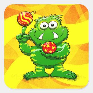 Green Monster Celebrating Christmas Square Sticker