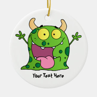Green Monster (customizable) Double-Sided Ceramic Round Christmas Ornament