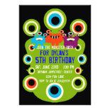 Green Monster Eyes Birthday Party Invitations