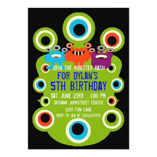 Green Monster Eyes Birthday Party Invitations