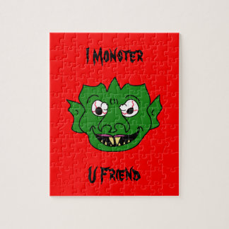 Green Monster Head Jigsaw Puzzle