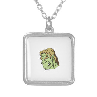 green monster head silver plated necklace