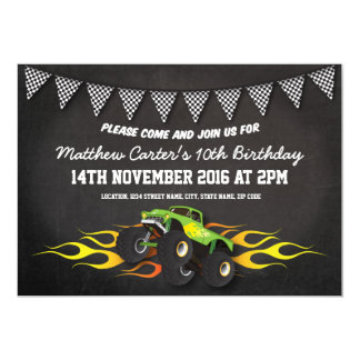 Monster Truck Birthday Invitations Announcements Zazzle