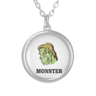 green monster man silver plated necklace