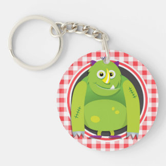Green Monster on Red and White Gingham Acrylic Key Chains