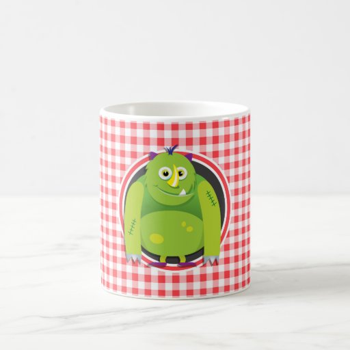 Green Monster on Red and White Gingham Coffee Mug