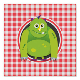 Green Monster on Red and White Gingham Poster