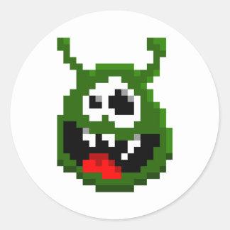 Green Monster - Pixel Art Classic Round Sticker