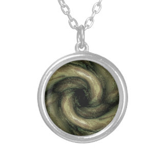 Green monster tentacles round pendant necklace
