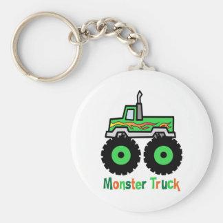 Green Monster Truck Basic Round Button Keychain