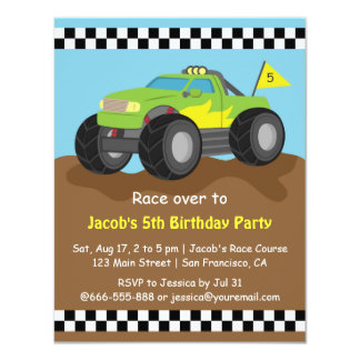 Green Monster Truck Birthday Party Card