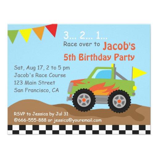 Green Monster Truck Birthday Party Custom Invites