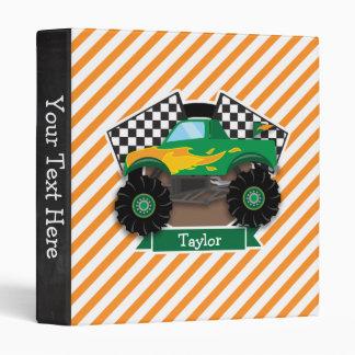 Green Monster Truck, Checkered Flag; Orange Stripe Binders