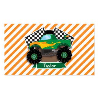 Green Monster Truck, Checkered Flag; Orange Stripe Business Card