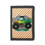 Green Monster Truck, Checkered Flag; Orange Stripe Trifold Wallets