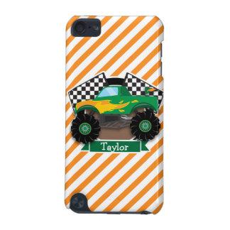 Green Monster Truck, Checkered Flag; Orange Stripe iPod Touch 5G Cover