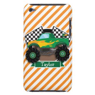 Green Monster Truck, Checkered Flag; Orange Stripe iPod Touch Cover