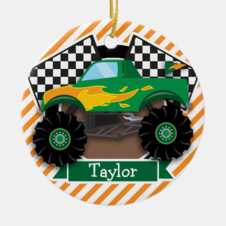Green Monster Truck, Checkered Flag; Orange Stripe Ceramic Ornament