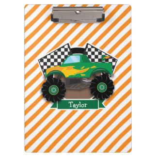 Green Monster Truck, Checkered Flag; Orange Stripe Clipboard