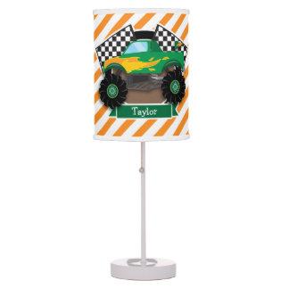 Green Monster Truck, Checkered Flag; Orange Stripe Desk Lamp