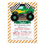 Green Monster Truck, Checkered Flag; Orange Stripe 5x7 Paper Invitation Card