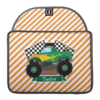Green Monster Truck, Checkered Flag; Orange Stripe Sleeve For MacBook Pro