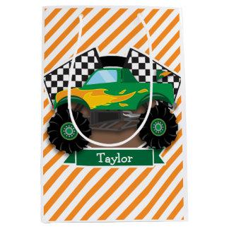 Green Monster Truck, Checkered Flag; Orange Stripe Medium Gift Bag